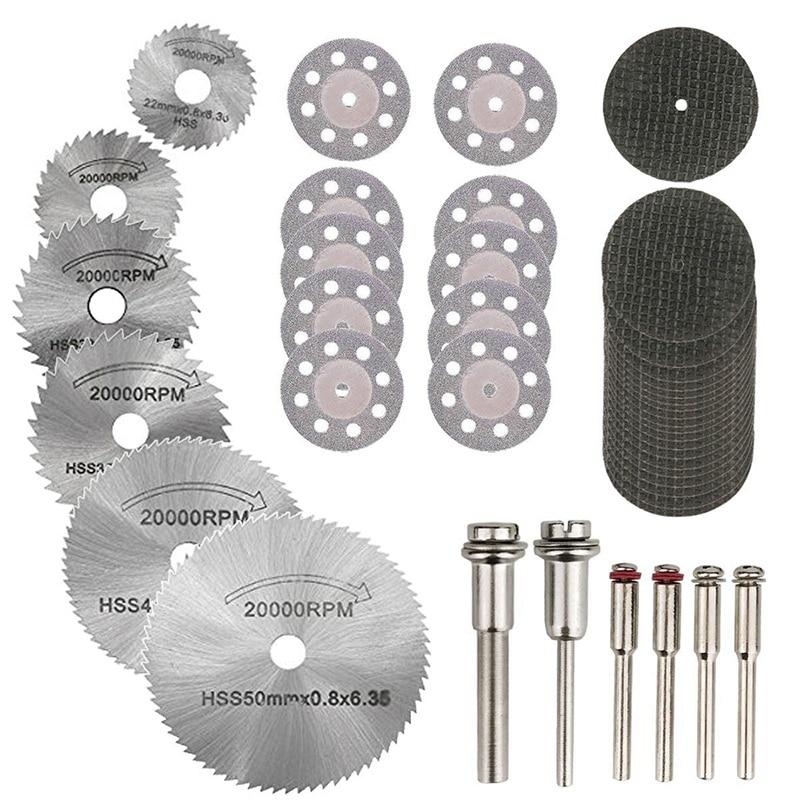 36PCS Rotary Cutting Wheels Tool Kit, Mini Diamond Cutting Wheel And HSS Circular Saw Blades And Resin Metal Cutting Wheels Tool