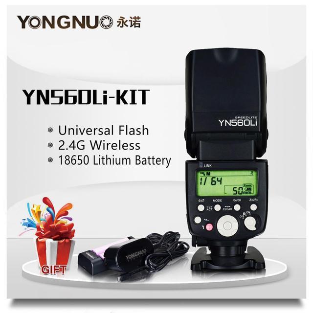 Yongnuo YN560Li 2.4G רדיו מהבהב מרחק עד 100 מטרים אוניברסליים למעלה חם נעל פלאש עבור Canon ניקון אולימפוס ליתיום פלאש