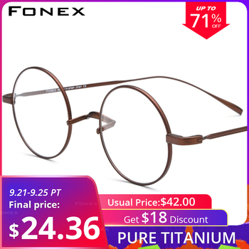 FONEX Titanium Glasses Frame Men Ultralight Round Myopia Optical Prescription Eyeglasses Frames Women Vintage Eyewear 9120 ee women titanium eyewear frames round frame glasses titanium frame optical glasses oculos de grau clear eyeglasses