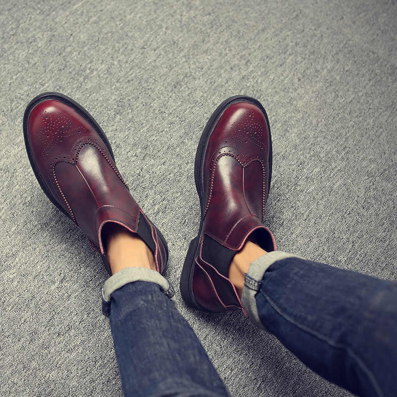 Männer Chelsea Brogues Geschnitzt Britischen Stiefel 2019 Vintage Stiefeletten Schuhe Herbst Winter Business Leder Schuhe Männlichen Plus Größe 45