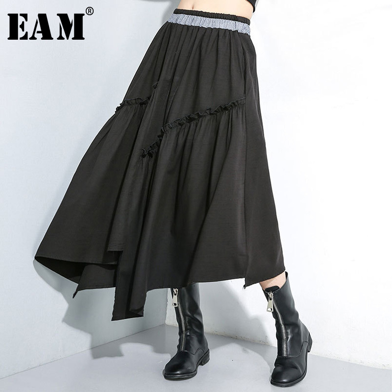 [EAM] High Elastic Waist Black Asymmetrical Ruffles Temperament Half-body Skirt Women Fashion Tide New Spring Autumn 2020 1H144