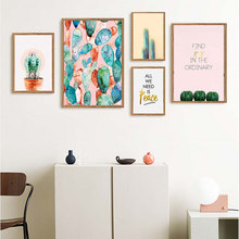 Yumeart minimalista cactus pintura em tela verde planta posters e cópias da parede arte fotos da parede sala de jantar cozinha boho decoração