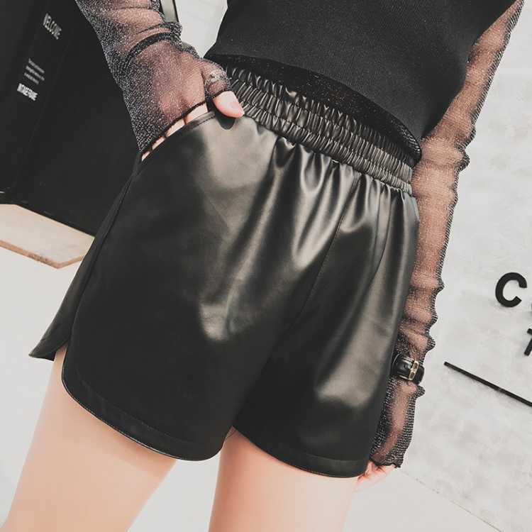 New Leather Shorts Women Loose High Waist PU Korean Large Size Wild Wide Leg Pants Was Thin Casual Boots Pants Wear