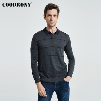 COODRONY Brand Sweater Men Spring Autumn Wool Pullover Business Casual Turn-down Collar Pull Homme Striped Knitwear Shirt C1059 coodrony brand wool sweater men streetwear fashion striped pull homme spring autumn casual knitwear v neck pullover shirts c1089
