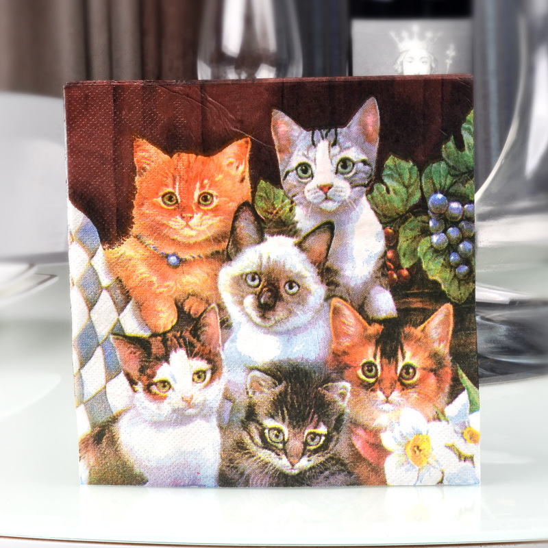 Cat Color Printed Napkin Green Paper Placemat Color Hotel Banquet Cup Stained Paper Wood Pulp Paper Disposable Napkin