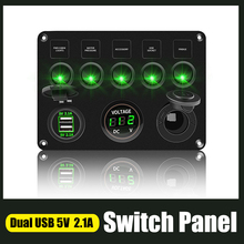 Car Boat 5 Gang Switch Panel For Boat Yacht Caravan Truck Waterproof Voltmeter Power Dual USB Socket Panel 12 24V LED Backlit