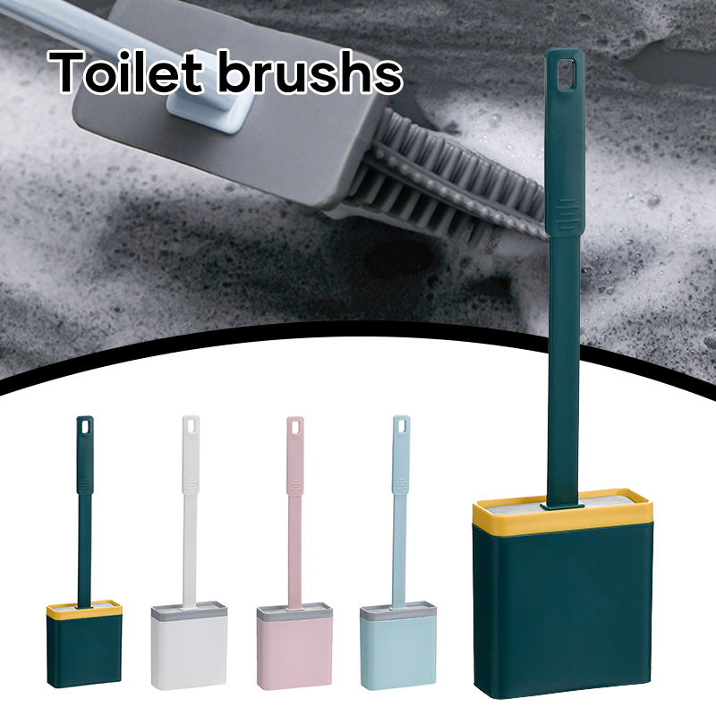 Bathroom Toilet Cleaning Brush & Holder Set Flexible Soft Cleaning Brush with Long Handle for Corner Bathroom _WK