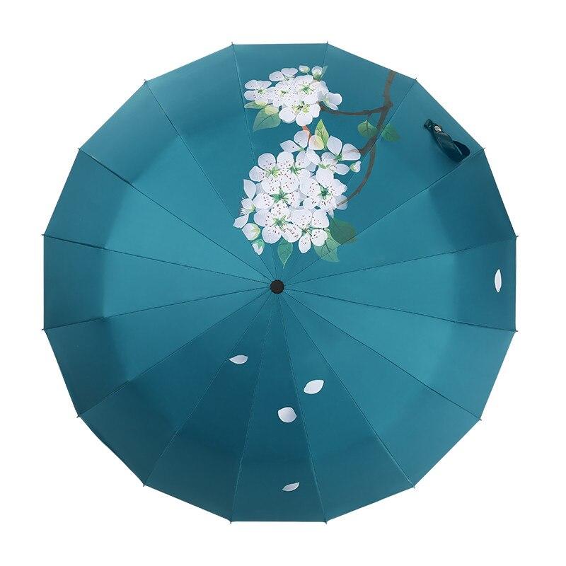 16 osso Forte Ombrello Pera Fiore Caduta Donne Accessori e articoli per pioggia di Protezione Parapluie Guarda Chuva Parasole Paraguas Regalo Di Natale - 5