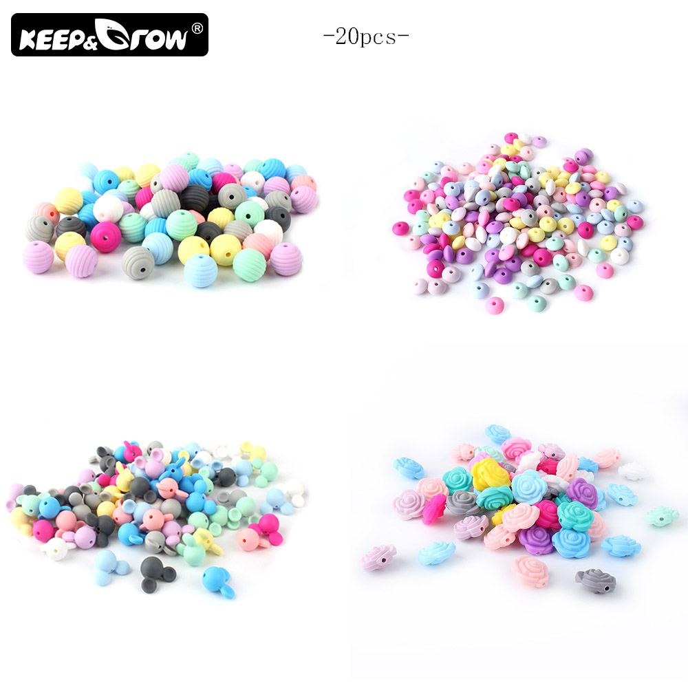Keep&Grow 20Pcs/Lot Silicone Beads Food Grade Silicone Teething Beads Baby Teething Chew DIY Teething Necklace Toys Accessories