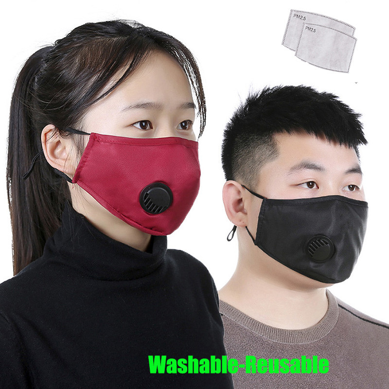 3D Face Mask Reusable Washable Adult Men Pm2.5 Anti Flu Dust Bacteria Virus Breathable Valved Respirator Activated Carbon Filter