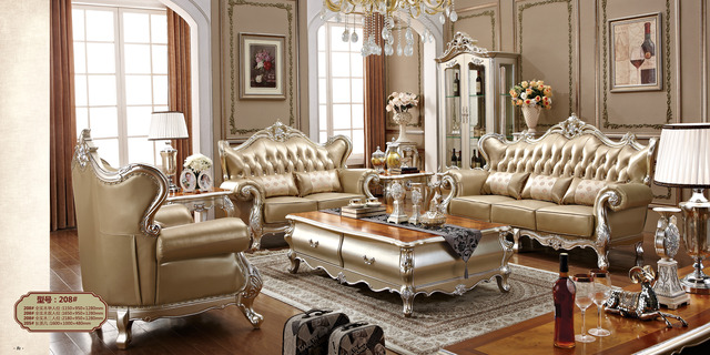 Factory wholesale luxury top quality genuine leather sofa set living room furniture camas 2