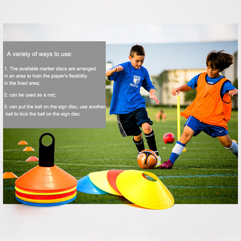 Newly 10 Pcs Soccer Training Sign Flat Pressure Resistant Cones Marker Discs Barrier Accessories BF88