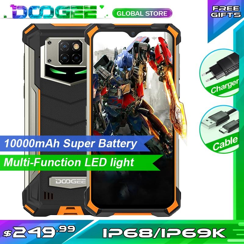 Doogee s88 pro telefone áspero 10000mah grande bateria conduziu a luz helio p70 octa núcleo 6gb ram 128gb rom android 10 smartphone