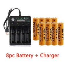 Akumulator GTF 18650 3.7V 9900mAh akumulator litowo-jonowy 2/4/8 szt. Akumulator litowo-jonowy + 4 gniazda 3.7V 18650 ładowarka USB