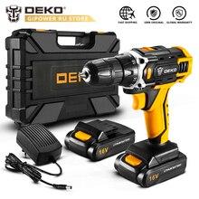 DEKO جديد Loner 16 فولت تيار مستمر مثقاب لاسلكي مع بطارية أيون الليثيوم حزمة المنزل لتقوم بها بنفسك مفك كهربائي LED قرص طاقة لاسلكي صغير