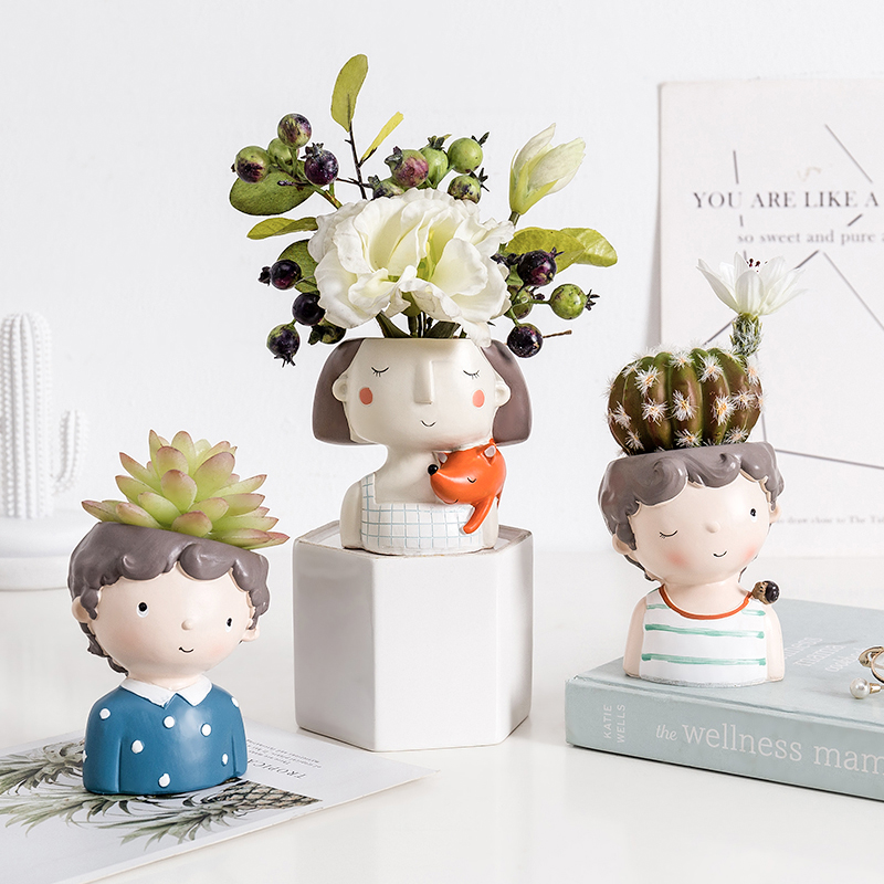 Succulent Planter Portrait Flowerpot Cute Girl Boy Animal Shaped Flower Pot Ornament Home Garden Office Desktop Decoration Gifts