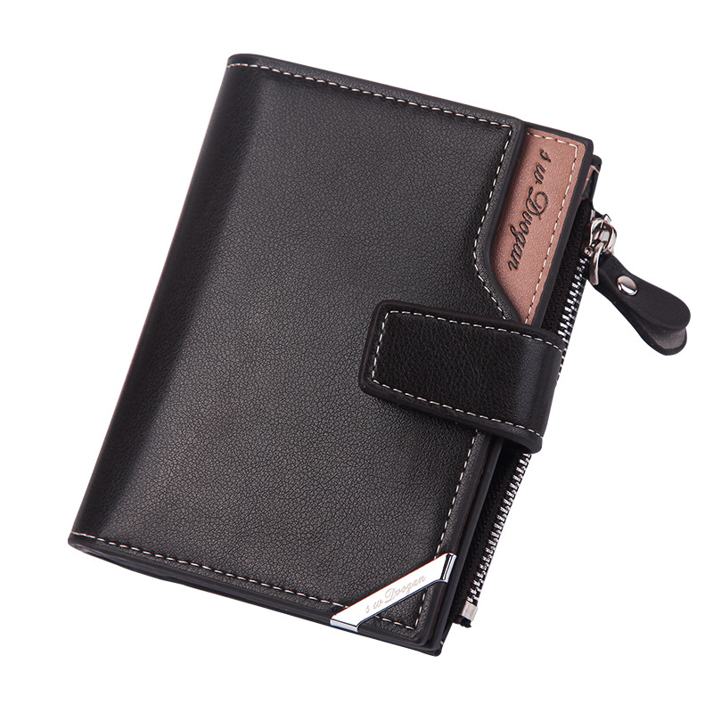 2020 Business Men's Wallet Short Vertical Male Coin Purse Casual Multi-function Card Holders Bag Zipper Buckle Triangle Folding