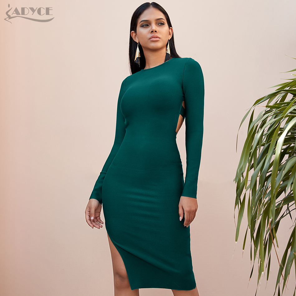 Adyce 2020 Spring Long Sleeve Green Black Runway Bandage Dress Women Sexy Hollow Out Backless Club Celebrity Evening Party Dress