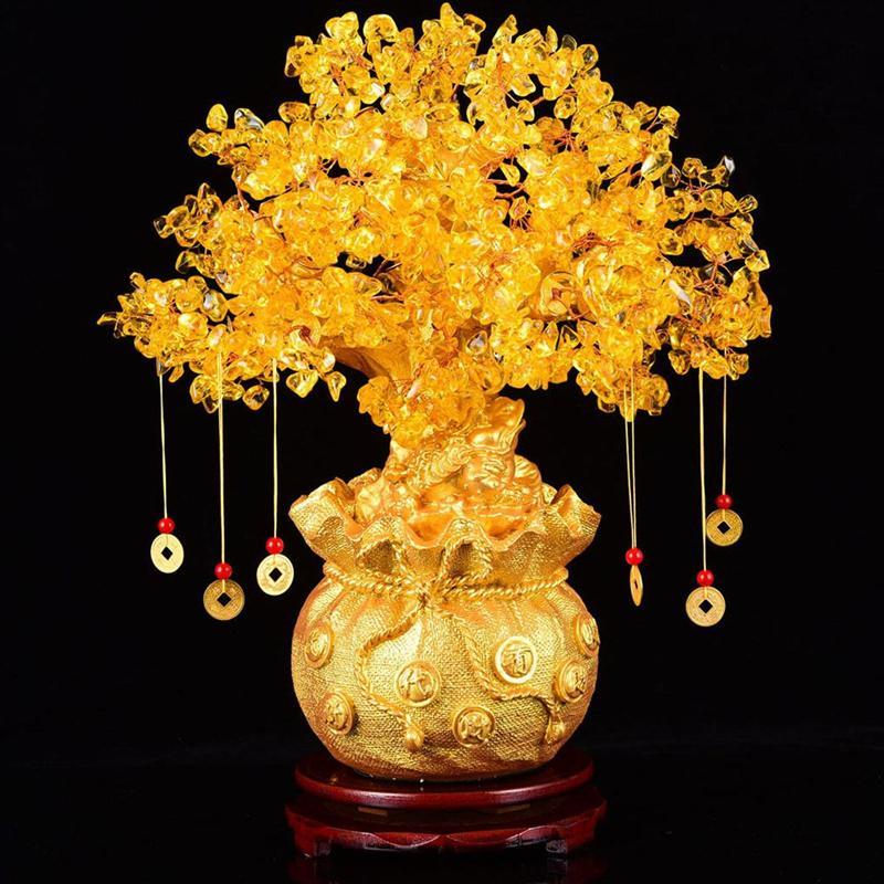 19cm de cristal natural árvore dinheiro ornamentos bonsai estilo riqueza sorte feng shui ornamentos decoração da casa (com moedas de ouro e base)