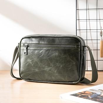 Leather men's bag shoulder bag fashion trend Korean casual mensmall crossbody bag header layer leather messenger bag tide