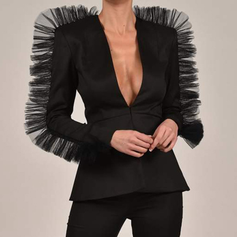 Modern Women Shorts Suits Long Sleeve Ruffled Blazer Plunging Neckline Gauze Splicing Blazers Top Short Pant OL Deep V Neck 2PCS