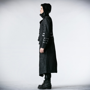 Image 3 - Мужская длинная куртка с капюшоном, черная Длинная регулируемая куртка в готическом стиле, ветровка в стиле панк