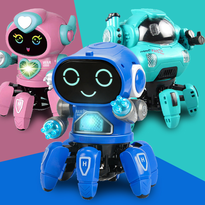 Dance Music 6 Claws Robot Octopus Spider Robots Vehicle Birthday Gift Toys For Children Kids Early Education Baby Toy Boys Girls 1