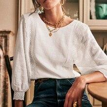 Camisa de encaje con espalda descubierta para Mujer, blusa elegante con botones y volantes blancos, camisa de estilo elegante para Mujer 2021