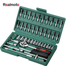 Realmote 46-piece Multi-function Hardware Car Sleeve Tool Combination Auto Repair Wrench Set