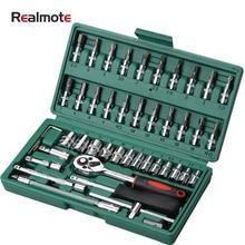 Realmote 46 шт многофункциональное оборудование авто рукав комбинированный инструмент для ремонта авто, Набор ключей
