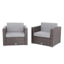 2 Pieces Patio PE Wicker Rattan Single Sofa Brown