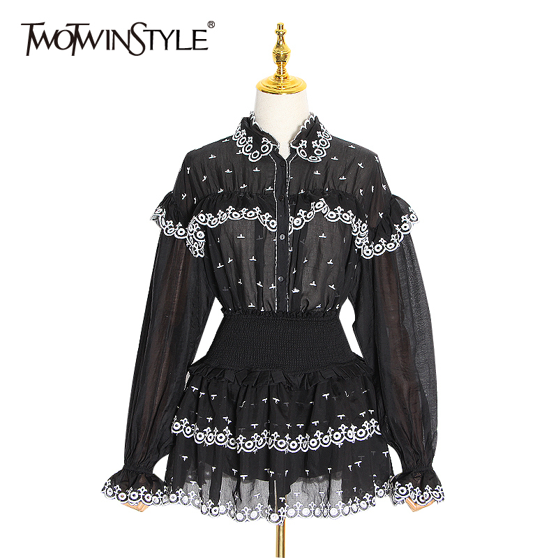 TWOTWINSTYLE Patchwork Lace Print Two Piece Set For Women Ruffle Flare Sleeve Shirt High Waist Skirt Female Suit 2020 Spring New