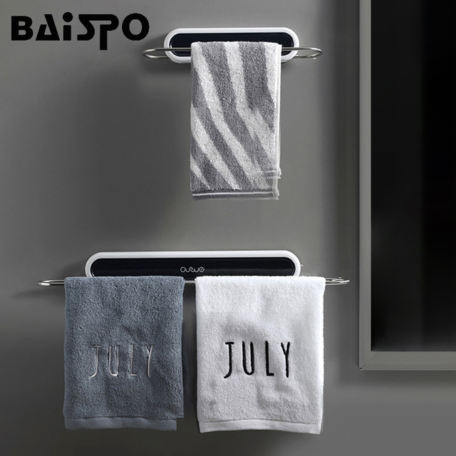 BAISPO Punch free Bathroom Shelves For Home And Kitchen Wall mounted Towel Holder Household Items Organizer Bathroom Accessories