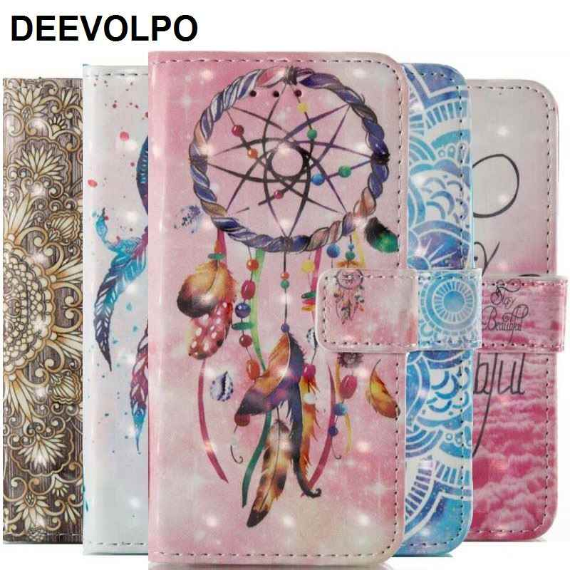 DEEVOLPO Cute Leather Case For Huawei P9 P8 Lite 2017 P9Lite Case Beautiful Mandala Bells Chimes Wallet Flip Cover Bag DP03E