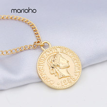 Retro Gold Silver Color Portrait Round Pendant Necklace Simple Alloy Coin Figure Face Chain Necklace Women Party Jewelry(China)