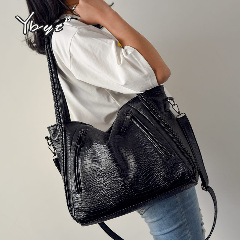 YBYT large capacity luxury handbags women bags designer vintage tote bag alligator PU leather ladies shoulder messenger bag