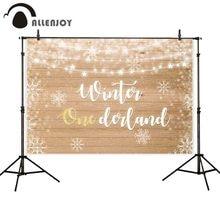 Allenjoy backdrop winter onederland wood star lights snowflake babyshower birthday photography background photophone photocall