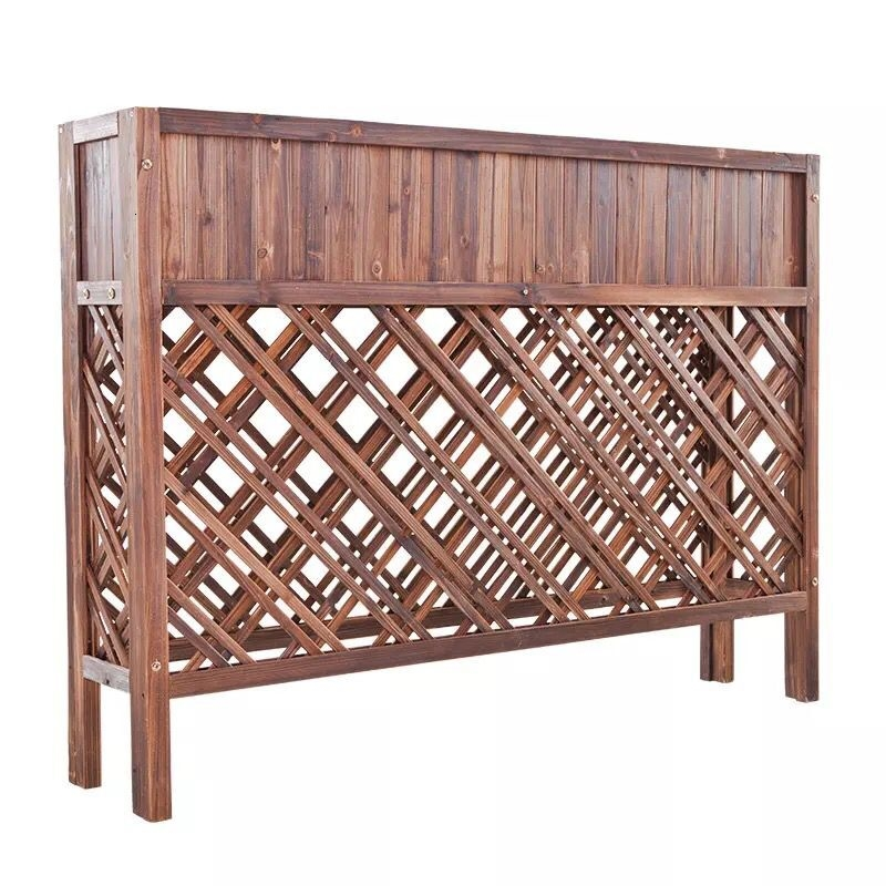 Outdoors Flower Box Anticorrosive Wood Solid Wood Grid Flower Rack Partition Flower Groove Bamboo Fence Fence Flowerpot Frame