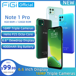 FIGI Note 1 pro Smartphone 6.6 Display 4000mAh Battery Helio P25 Octa Core 4GB 128GB Mobile phone 16MP Triple Camera Telephone