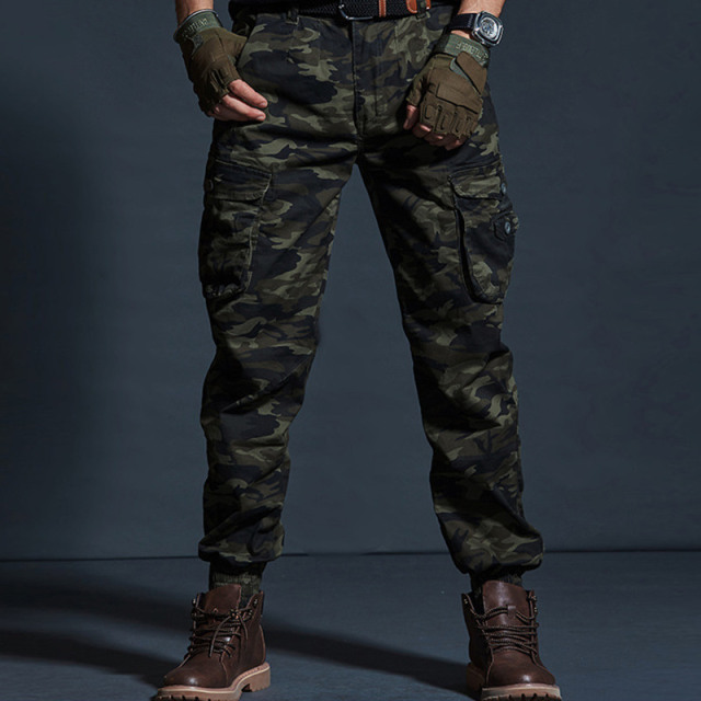 High Quality Khaki Casual Pants Men Military Tactical Joggers Camouflage Cargo Pants Multi-Pocket Fashions Black Army Trousers 48