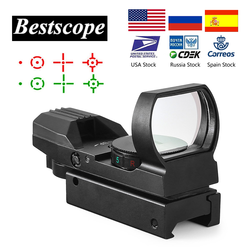 חם 20mm Rail Riflescope ציד אופטיקה הולוגרפי Red Dot Sight רפלקס 4 Reticle טקטי היקף Collimator Sight title=