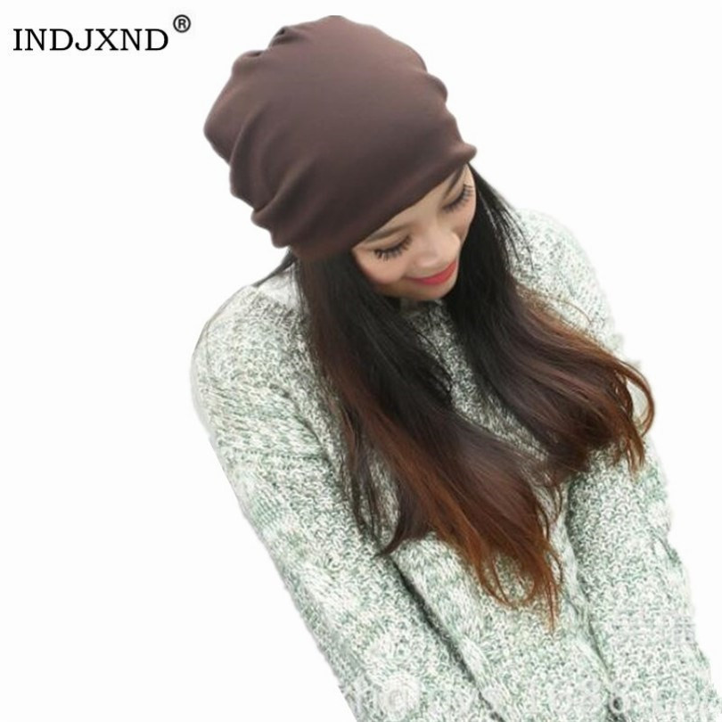 Winter Multifunctional   Beanies   Autumn Woman Gorros Pure Color Performance Women   Beanie   Hat High Quality Female   Skullies   M028
