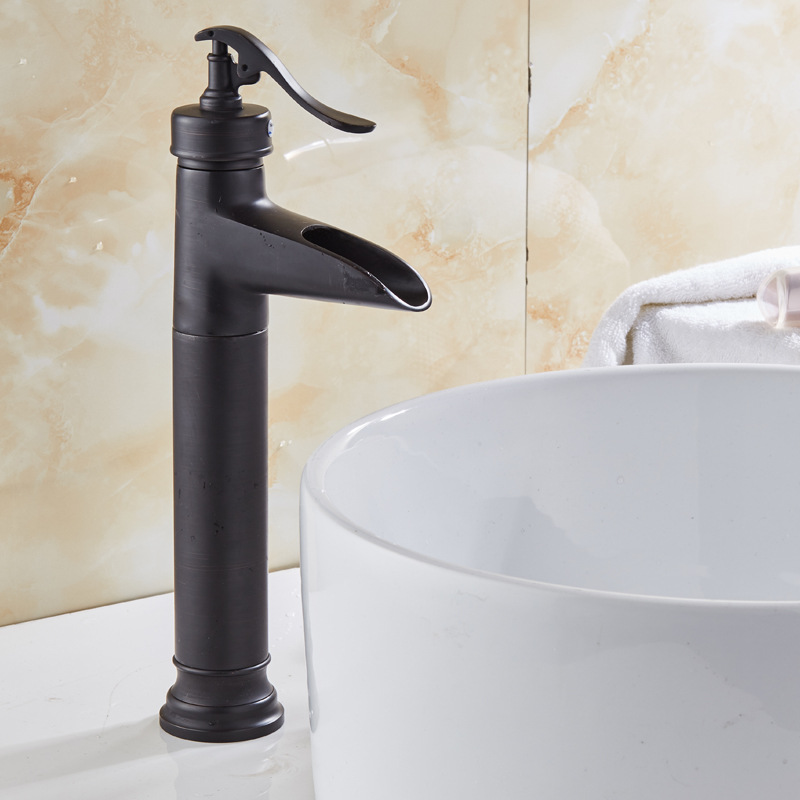European Style Vintage Black And White With Pattern Table Basin Faucet Basin Black And White With Pattern Waterfall Faucet Cold