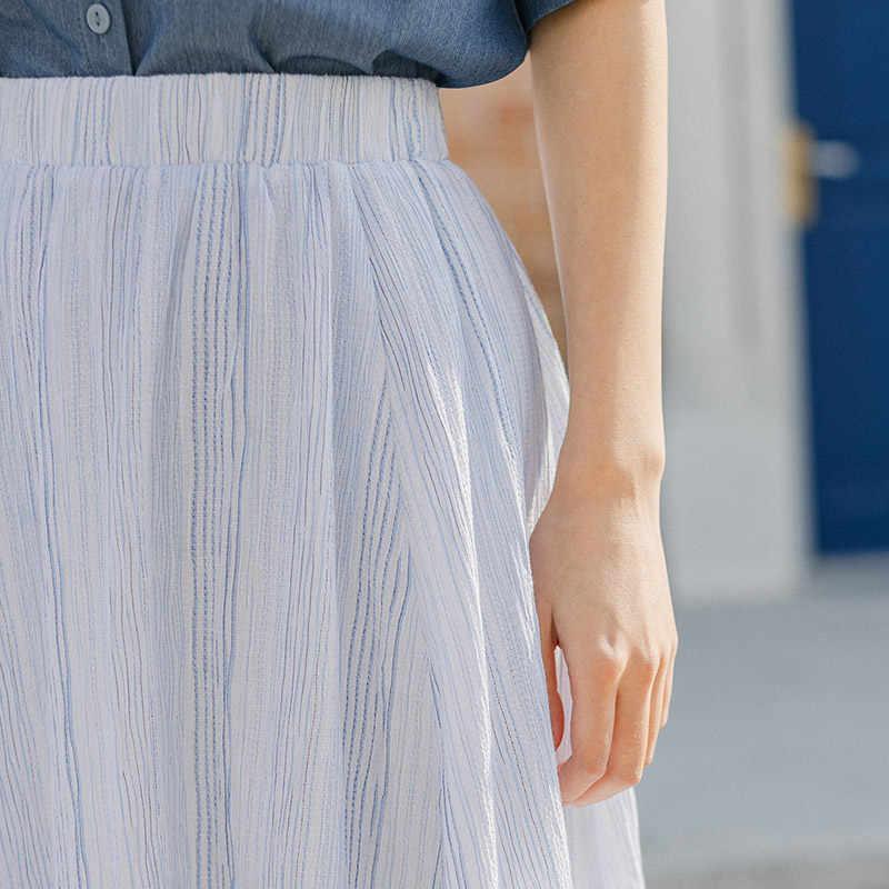 Inman 2020 verão nova chegada elástico cintura listra slimmed all-match saia pura e fresca