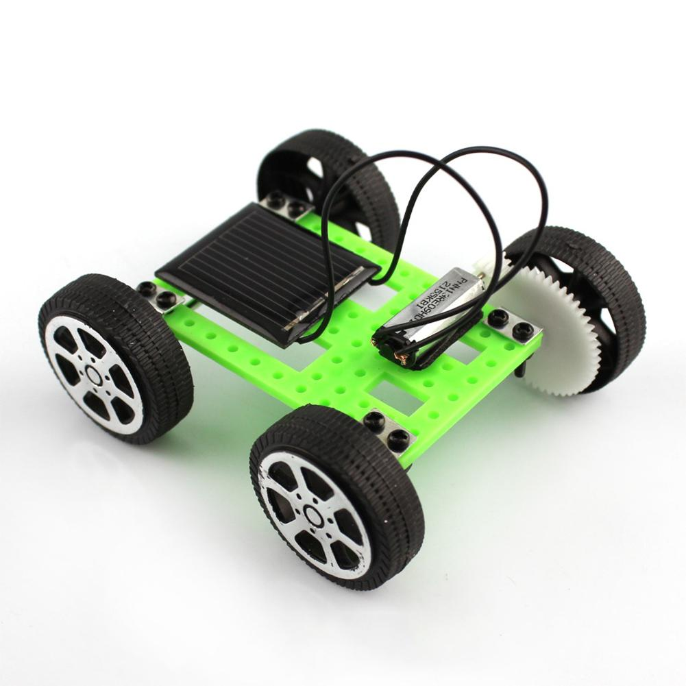 Kuulee 1Pcs Mini Solar Powered Toy Car Assemble DIY Kit Children Educational Gadget Hobby Funny, Green