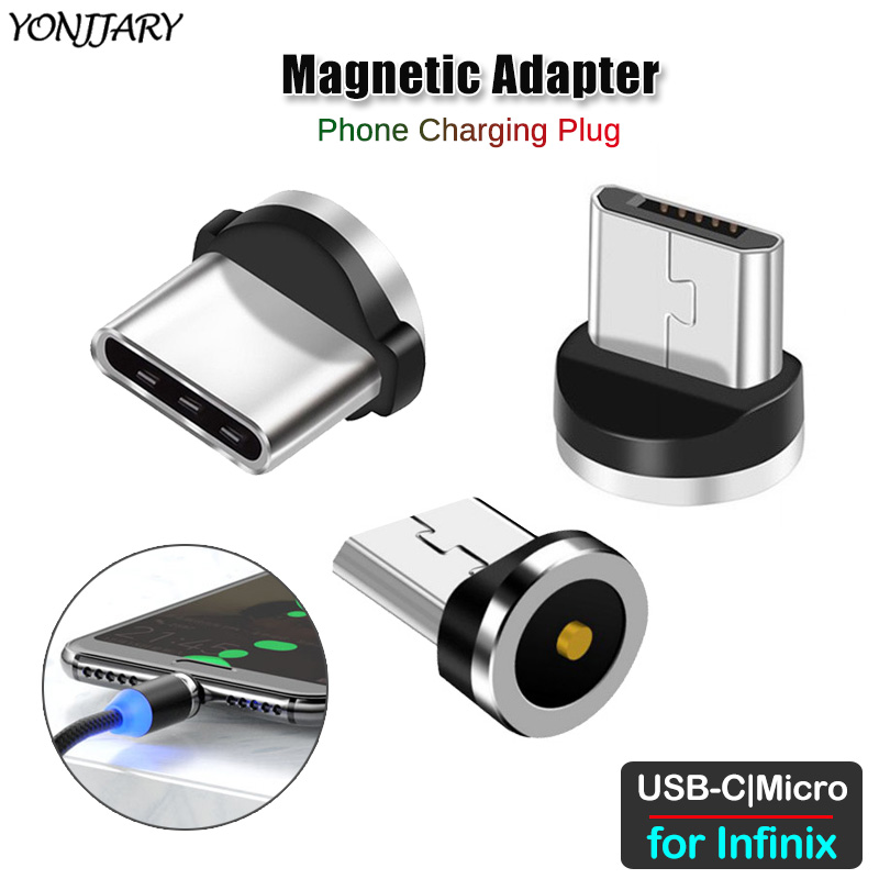 Round Magnetic Charging Cable Adapter For Infinix Zero 4 5 6 Pro Hot 6X 7 8 9 Note 4 5 6 7 S4 S5 Pro Lite Micro USB Type C Plug