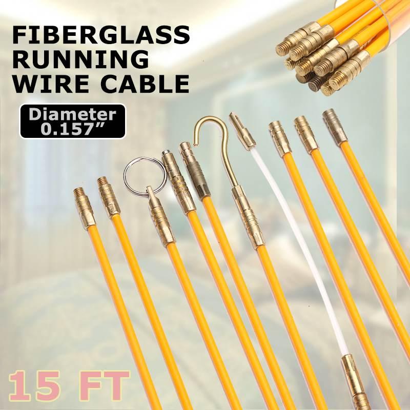 10 шт./компл. 15FT 4 мм желтое направляющее устройство стекловолокно Электрический кабель толкатели провода комплект 45,7 см Электрический кабел...