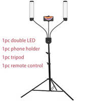 Photo Studio Double Arms Fill Ring light with 200cm Tripod Long LED Strips add Stand 3300K-5500K 288PCS LED For Camera