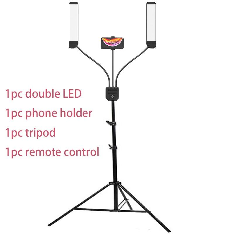 Foto Studio Doppel Arme Füllen Ring licht mit 200cm Stativ Lange LED Streifen hinzufügen Stehen 3300 K-5500 K 288PCS LED Für Kamera