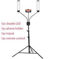 Studio Photo Double bras remplir anneau lumière avec trépied 200cm longue ampoules LED ajouter support 3300 K-5500 K 288 pièces LED pour appareil Photo